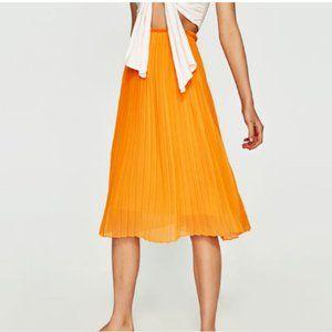 Zara orange midi pleated skirt